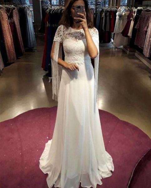 Hot Sale Lace Short Sleeves Wedding Dresses with Tassel Jewel Neck Bridal Dresses China Long Chiffon A Line Dress