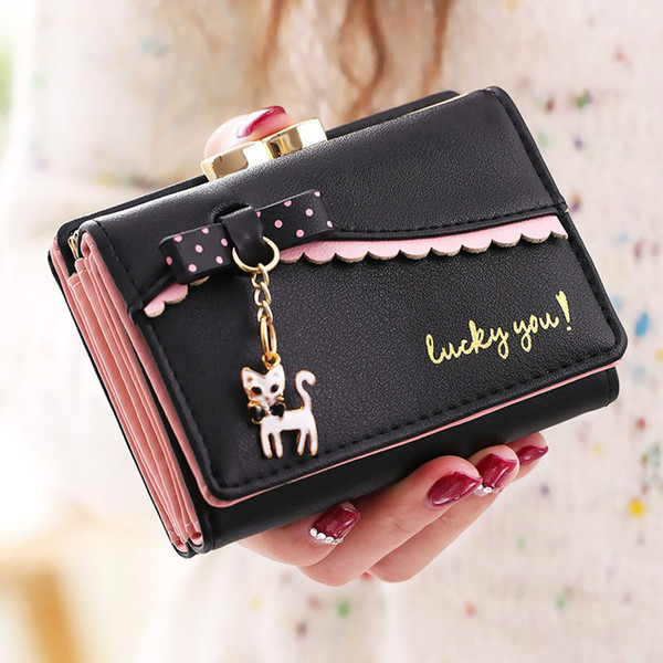 Luxury Wallet Women Lady Fashion Women Solid Lichee Pattern Wallet Messenger Bag Coin Bag Card Package Cartera Mujer Pequeña GH