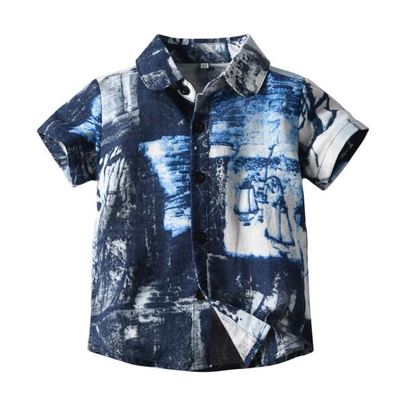 Garçon vêtements pour enfants été chemise à manches courtes Turn Down col Beach Holiday Shirt 100% coton été chemise décontractée vêtements