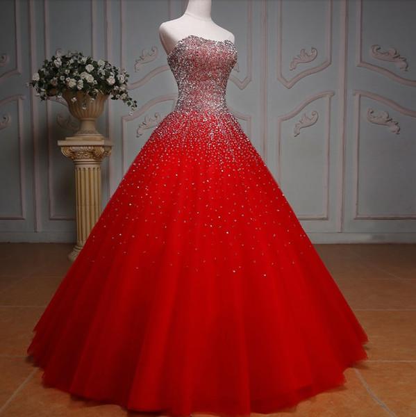 Compre Diseño Mujer Rojo Quinceañera Vestidos Novia Bicolor Vestido De Fiesta Longitud Del Piso Falda Pesada Rhinestones De Bling Debutante Vestidos