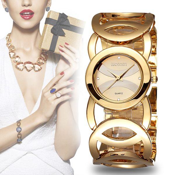 Women Luxury Crystal Gold Watches Circle Design Ladies Brand Fashion Bracelet Quartz Watch Shock Waterproof Clock Relogio Feminino Orologio