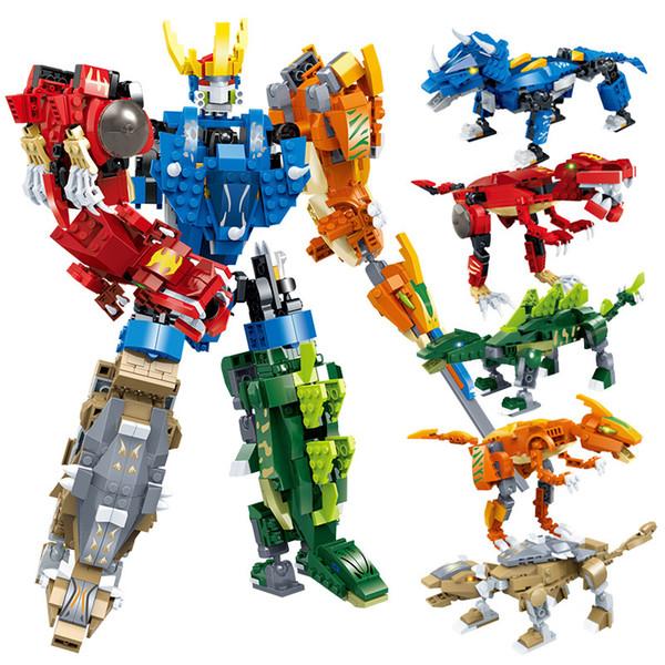 Deformazione del dinosauro cinque in un robot King Kong piccole particelle di particelle assemblate giocattoli giocattoli educativi regalo