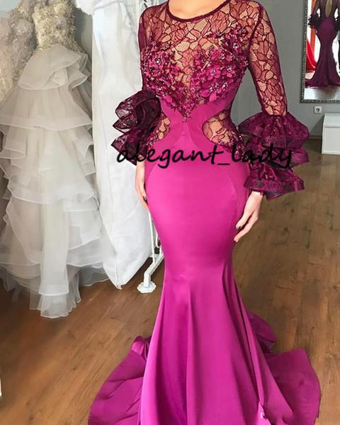 Elegant Long Fuchsia Mermaid Evening Dresses Long Sleeves Lace Flowers Arabic Formal Prom Dress 2019 Mother of the Bride Dress