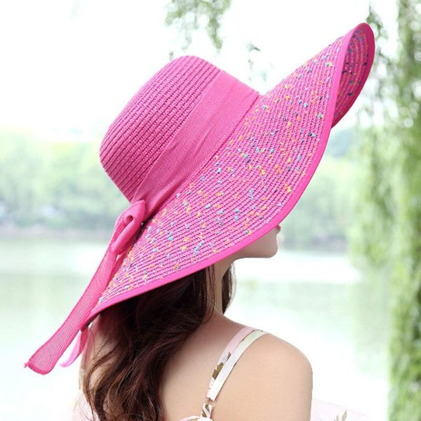 79e878bb ltnshry Summer Women's beach hats Caps Foldable Chiffon Floppy Sun Hats  Casual Ladies sombreros bowknot hat Ladies