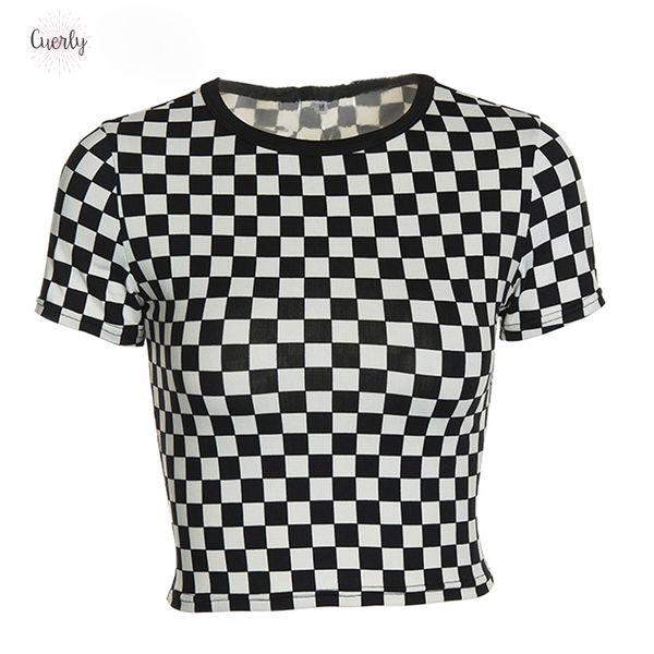 Shirts Femmes 2019 Plaid T-shirt à manches courtes Femme Sexy Crop Top T-shirt de base froncé Fitness Vêtements d'été Asts20325