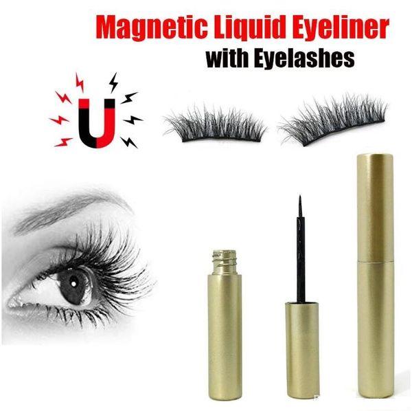 Creative Magnetic Eyeliner+Five Magnetic Magnet False Eyelashes Set Natural False Eyelash Extension Glue Free Make Up Tools