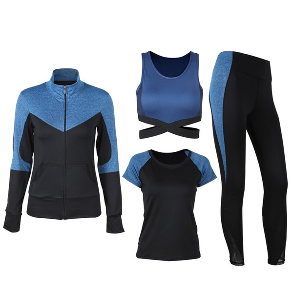 Set da 4 pezzi Yoga Set da donna Lake Bule e Black S-XL Sportswear Running Dancing Gym Suit Camicia + Bra + T-shirt + Leggings # 372393