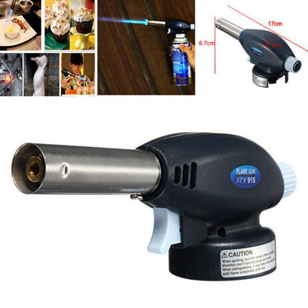 Wholesale- New Durable Gas Torch Flamethrower Butane Burner Auto Ignition Camping BBQ Tools without Gas Cylinder