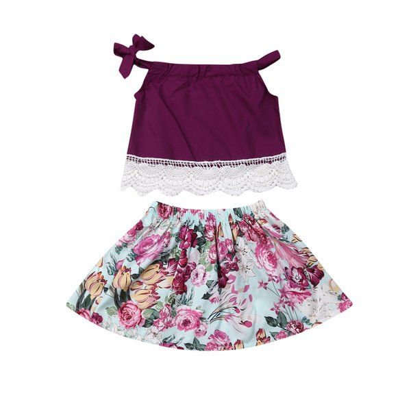 2019 Baby Summer Clothing Toddler Kids Baby Girls Clothes Sets 1-5Y Sleeveless Lace Vest Tops Floral Mini Skirt 2PCS Outfits