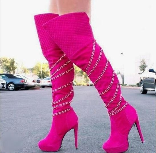 High Quality Pink Black Leather Women High Boots Round Toe Gold Chain Decor Heels Over Knee Boots Womens Plus Size