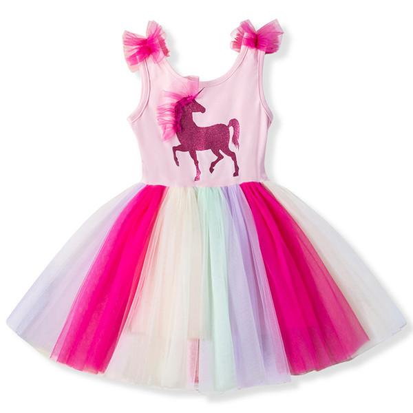 3 4 5 6 7 8 Years Baby Fancy Unicorn Dress for Girls Princess Unicornio Party Dresses Children Kids Dresses for Girl Costume