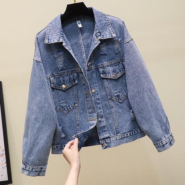 Women Casual Blue Ripped Loose Jacket Korean Long Sleeved Pockets Jean Coat Button Back Cartoon Printed Denim Coat