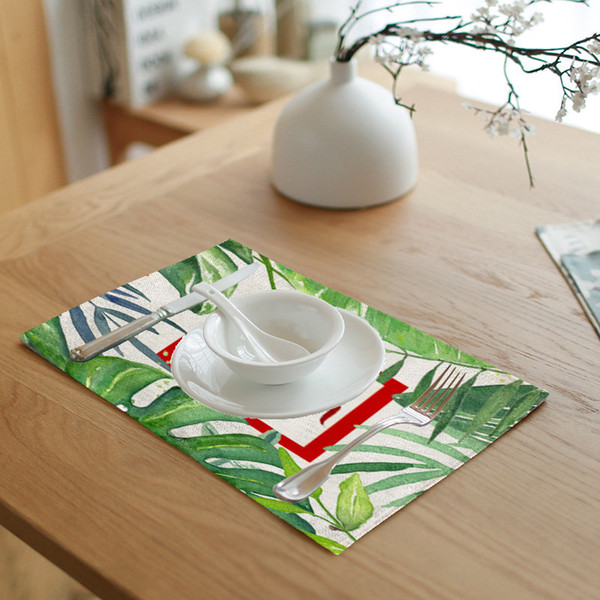 4pic/set Simple Print Lotus Leaf leaves Green Letters Napkin Tea Coffee Table Decoration Western Pad Tablecloth