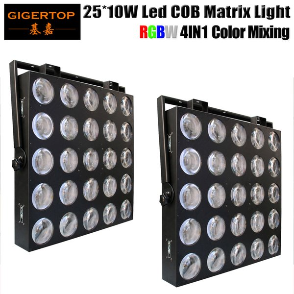 Envío gratuito 2 unidades 25 cabezas de luz LED de matriz 25x10W RGBW 4IN1 Color 110/100/40/7 Canales DMX IP20 Audiencia Lavado Cegador Audiencia