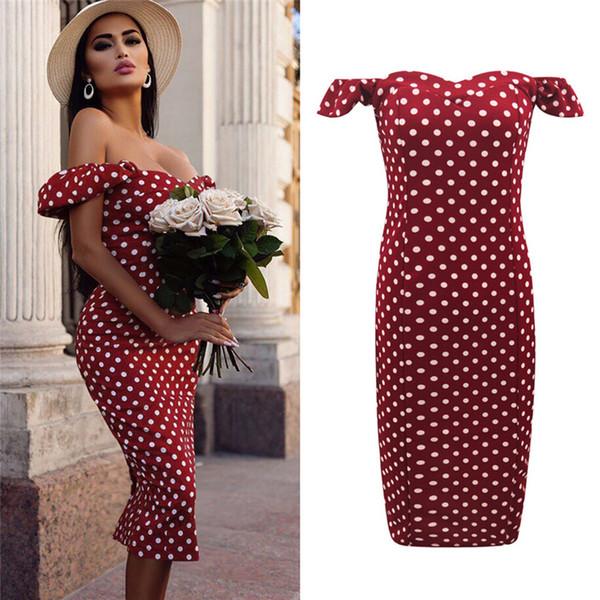 top popular AprilGrass Brand Designer Women Dress Sexy Off Shoulder Short Sleeve Polka Dot Dress Woment Dress Tight Style Short Party Beach Dresses 2021