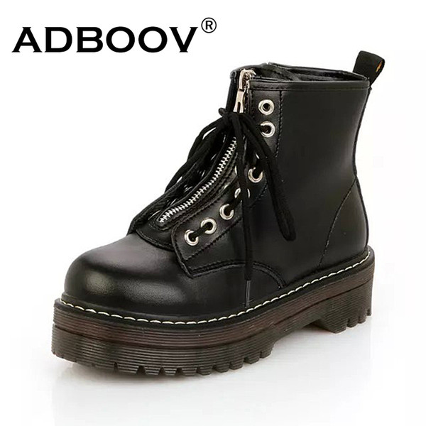 ADBOOV Qualità PU Leather Platform Stivaletti Donna Zip Flat Martin Boots Cow Muscle Sole Scarpe invernali Donna Chaussures Femme