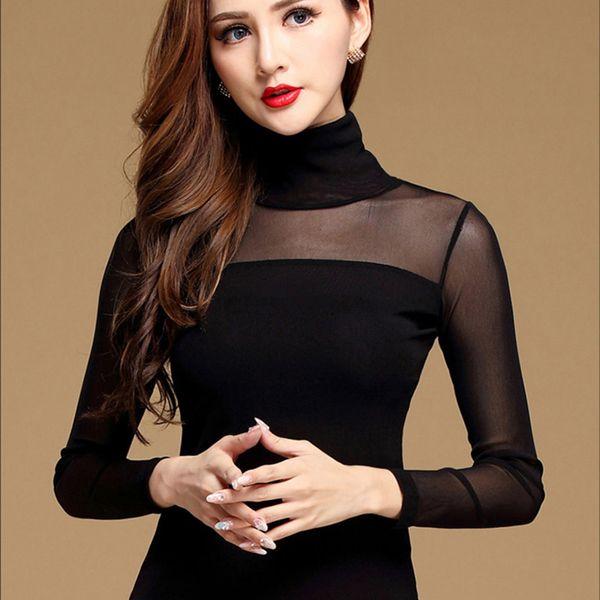 New Mulheres Blusa Black White Sexy Longo Camisa Casual manga comprida Lace Blusa Sob Shirts oco Tops Para Mulher Plus Size