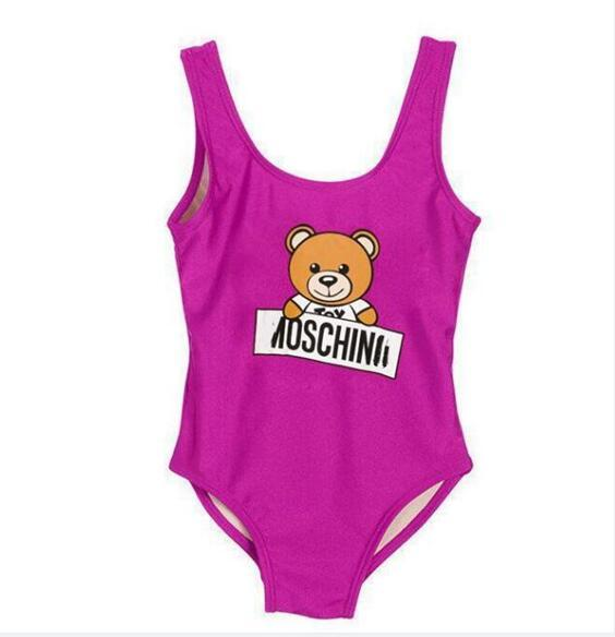 top popular Ins best selling kids clothes one -piece baby girls jumpsuits swimwear printing letter swimsuit kids girl swim beach clothing 2T-7T 2020