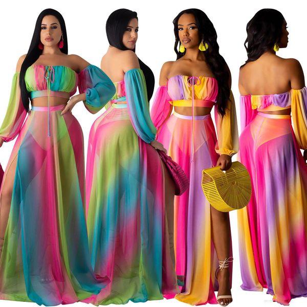 Две части с длинным рукавом и шифоновым платьем для женщин Элегантное платье без бретелек с прозрачным макси Лето Boho Wear