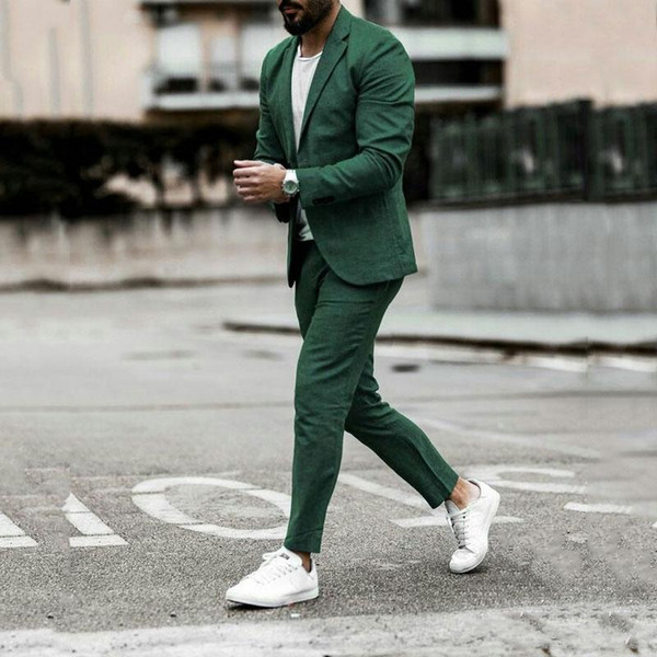 Tailored Summer Green Business Man Suits Man African Attire Groom Tuxedo Smoking Jacket Terno Masculino Outfit 2Piece Slim
