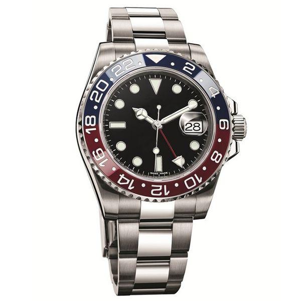 Mens montres de luxe Bâle rouge bleu 40mm Mouvement mécanique automatique en acier inoxydable