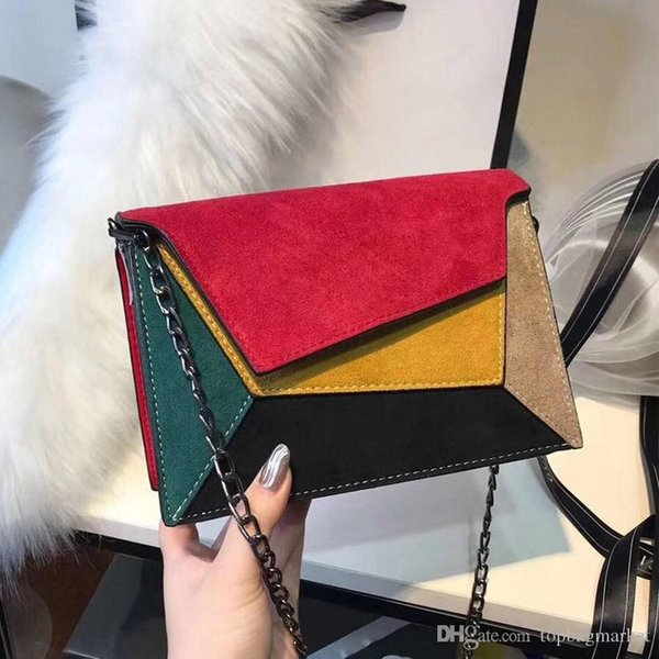 Fashion popular leather patchwork handbags luxury designer small chain shoulder bag ladies clutch bags wallet crossbody bag size: 25x18x7cm