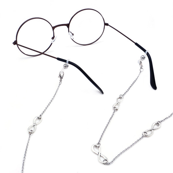 LuReen 70cm Fashion Metal Eyeglass Chain Retainer Strap with Infinite Sign Fit Eyeglass Cable Strap Holder Neck Lanyard for Women