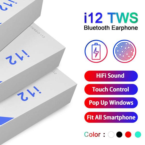 Auriculares I12 TWS Auriculares inalámbricos Auriculares de control táctil con caja de carga PK I9S Tws i7S tws i11 con caja al por menor