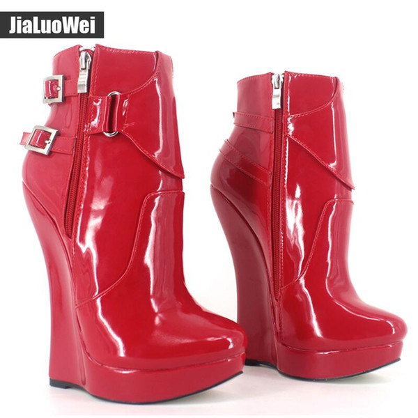 Women Wedges High Heels Platform Sexy Fetish High Heeled Shoes Women's Fashion Buckle Straps Ankle Boots British Short boot Black Red 18cm