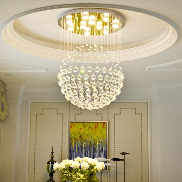 3 lighting colors modern crystal chandelier light flush mount ceiling chandeliers lighting round led pendant lamps for dinning room bedroom