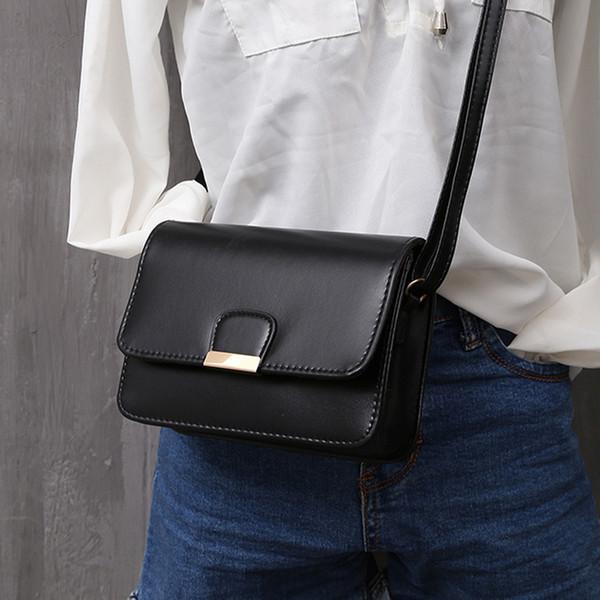 Kadın Bolso için Kız Messenger çantaları Kadın Moda Deri Basit Katı Çanta Küçük Omuz Çantaları Crossbody Çanta