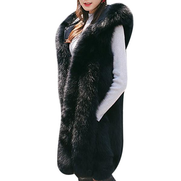 2018 Winter Thick Warm Hooded Faux Fur Vest Plus Size Women Long Rabbit Fur Coat Sleeveless Fake Jacket Gilet Fourrure Femme