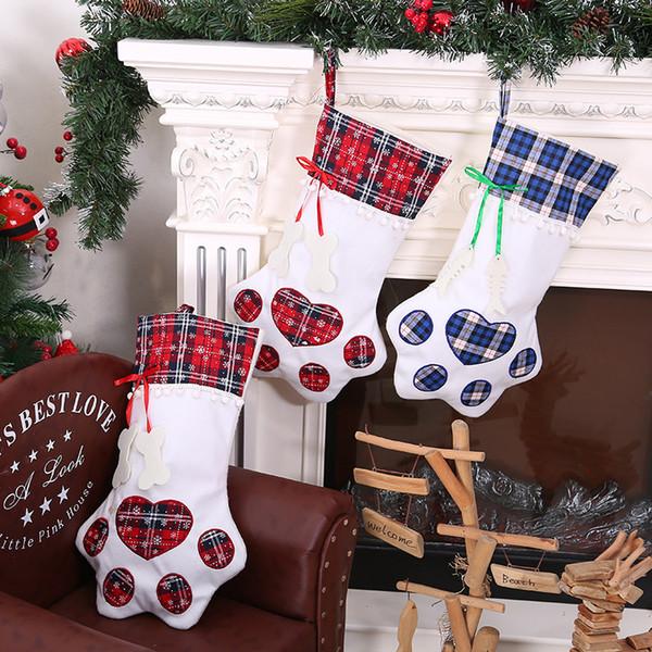 Nouvelle haute qualité Meilleures ventes Creative Dog Paws Noël Bas bricolage Décoration de Noël Fournitures Chaussettes Sacs cadeaux