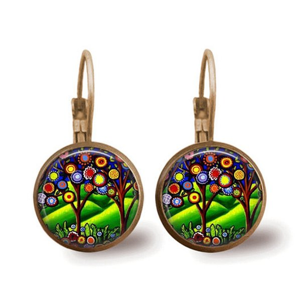 Cross-border new products Tree time gemstone earrings fashion French ear hook earrings small gifts custom wholesale