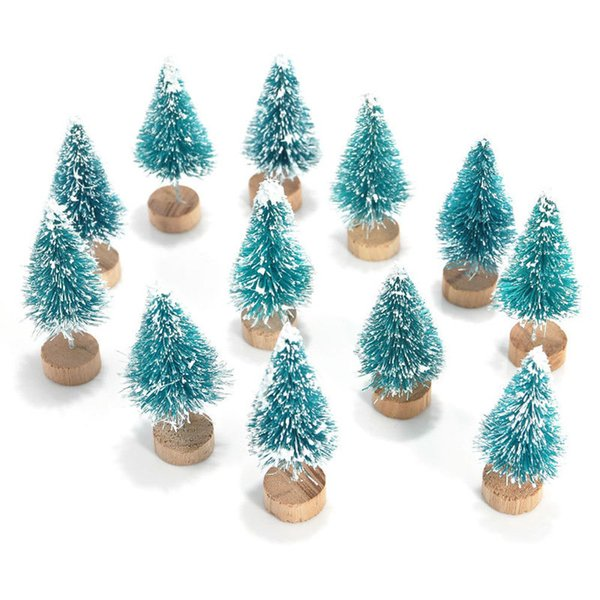 12x Mini Sisal Bottle Brush CHRISTMAS TREES Santa Snow Frost Village House