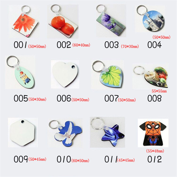 top popular sublimation mdf heart round blank key chain hot transfer printing blank keychains key ring jewelry material consumables 2020