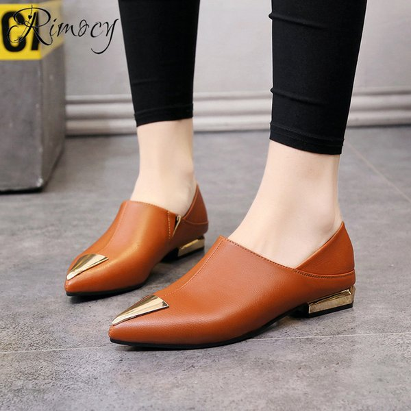 2019 Dress Rimocy 1cm low heels dress shoes women pumps pointed toe 2019 spring brown shoes woman slip on Thick Heels working shoes femme