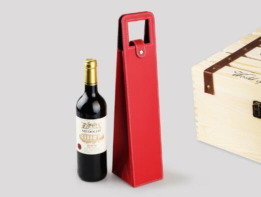 Red Wine Bottle Tote Bag Packaging Case Gift Portable PU Leather Single Storage Boxes With Handle-wang