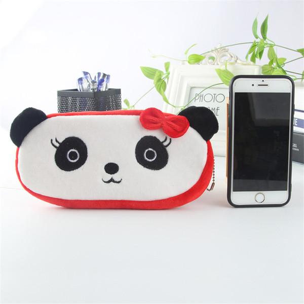 Fashion Cartoon Panda Velvet Plush Pouch Storage Purse Pencil Case Pen Bag Wallet Stationery Pencilcase Makeup Cosmetic Handbag