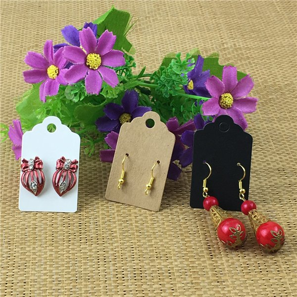 400Pcs/Lot 5x3cm Kraft Blank Paper Three Colors Earring Cards and OPP Bags Ear Stud Jewelry Accessories Displays Packaging Cards