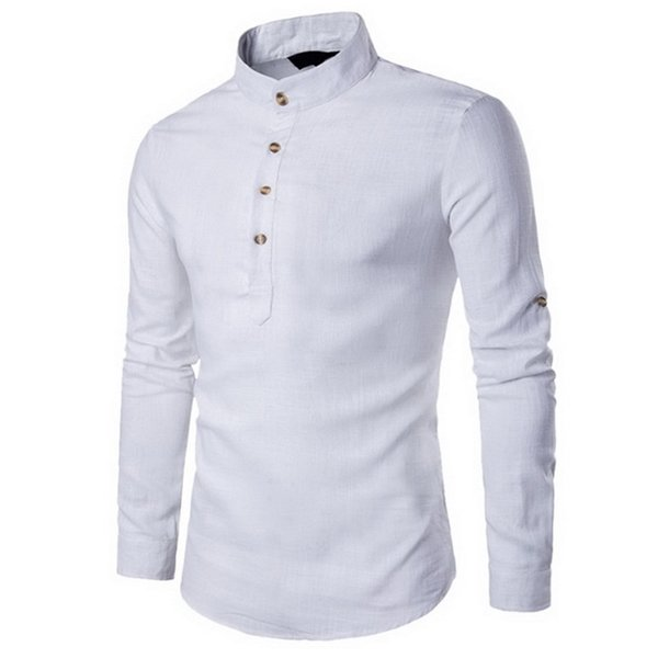 Male Summer Traditional Chinese Style Long Sleeve Casual Shirt Cotton Linen Blended Mandarin Collar Breathable Comfy