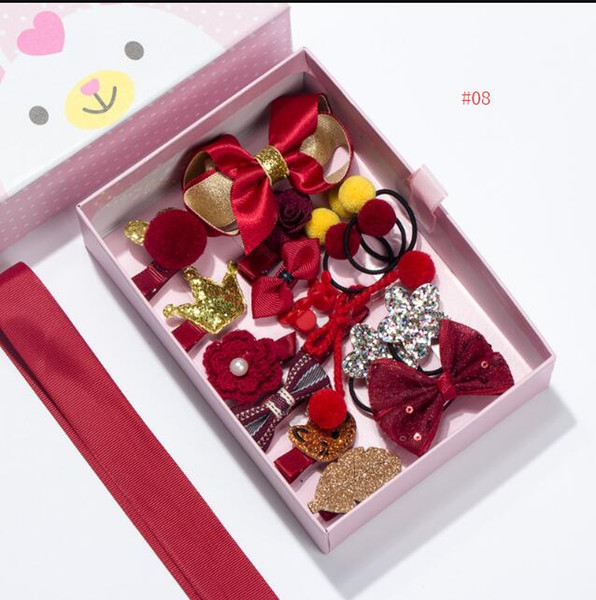 18-Pack Princess Girl Hair Bows Clip Hairpins Accessories Gift Box For Baby Kids Pink Rabbit Star FlowerBow Boutique Gift Sweet Design