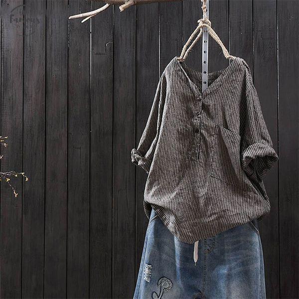 2019 Women Vintage Striped Blouse Casual Autumn V Neck Long Sleeve Loose Blusas Top Femininas Cotton Linen Shirt