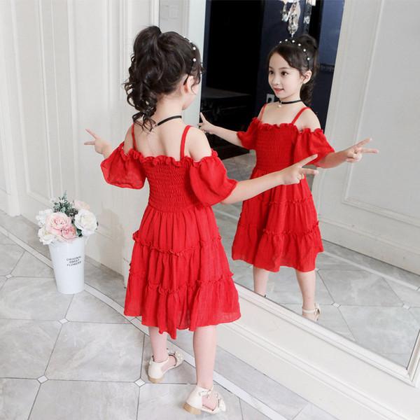 Off-плечу шифона платье новое летнее платье ультра-иностранных детской одежды маленькая девочка вибрационный сеть красный детей юбки принцессы