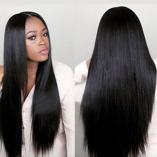 top popular African Remy Hair Wig Straight Chemical Fiber Long Hair Swiss Roes Net Wig with Hair Curtain for Black Women 2019