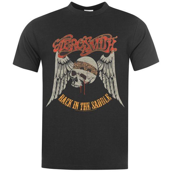 Official Aerosmith - Back In The Saddle - Men's Black T-Shirt IMPORTFunny free shipping Unisex Casual Tshirt