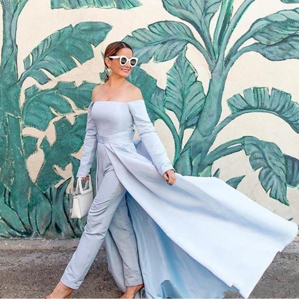 Fashion Long Light Blue Jumpsuit Prom Dresses 2019 with Detachable Train Plus Size Vestido De Festa Satin Formal Party Evening Gowns