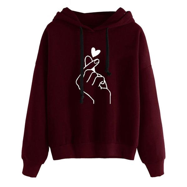Korean Fashion Women Hoodie Sweatshirts Heart Finger Pattern Long Sleeve Casual Loose Pullover Kawaii Hooded Tops Kpop Clothes