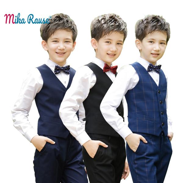 Novas crianças meninos conjuntos de roupas xadrez colete roupas ternos meninos ternos para a escola de casamento estudante festa de piano traje crianças colete