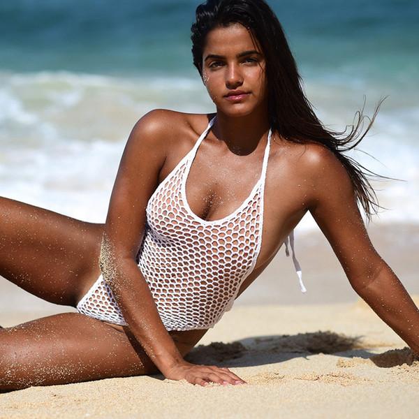Новый стиль женского купальника из чистой пряжи полого бикини чистого цвета с открытой спиной купальник в 2019 году